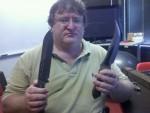 Gabe, Knives.. and a Half Life 3 Logo